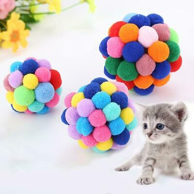 Cat Toy Colorful Handmade Bells Bouncy Ball Built-In Catnip Interactive