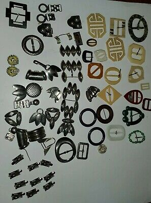 Lot of 60 Vintage Assorted Hard Plastic Metal Belt Buckles and pieces craft