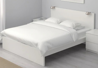 Beste IKEA MALM BED frame, high, King size, white, wooden, w/ Lonset YL-33