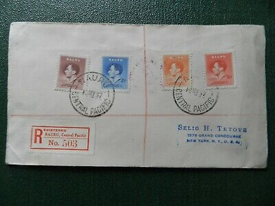 First Day Cover Stamps - 1937 Coronation - Nauru Central Pacific Registered Post