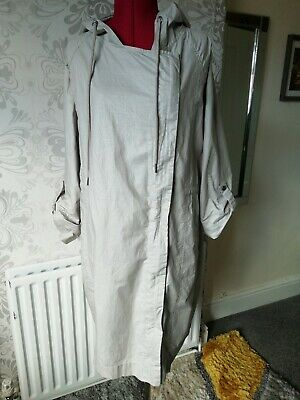 M & S  Natural Cotton/Linen Hooded Raincoat Size L Side Zip, adjustable sleeves