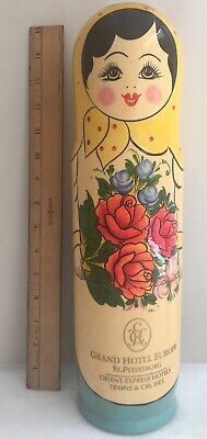 Grand Hotel Europe St. Petersburg Wood Lacquer Tall Doll Wine Holder Souvenir