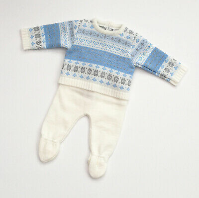 Pex Baby Boys Blue Spanish Knitted Fair Isle Jumper & Trouser Outfit Suit NB-9M
