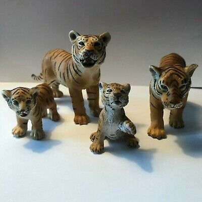 Schleich 2003 Orange Bengal Tigers - 2 Adults & 2 Cubs (one cub 2007) Excellent