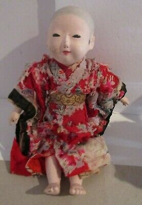 "Signed Antique 12"" Ichimatsu Gofun Paper Mache Oriental Doll - Circa 1890   #1"