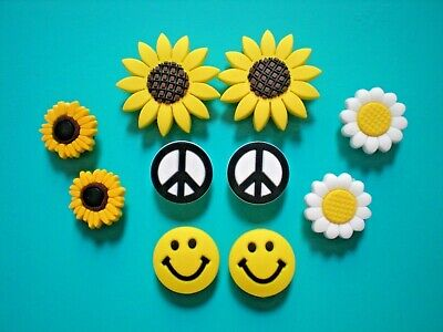 Shoe Charm Clog For Accessorie For Wristband Peace Sign Sun Flower