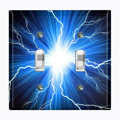 Metal Light Switch Cover Wall Plate Home Decor BLUE LIGHTNING