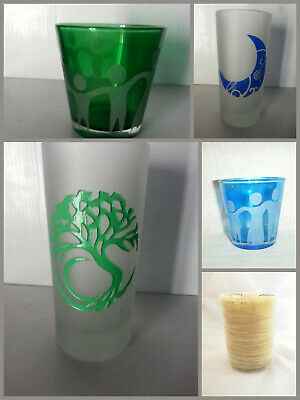 Candle Holders Votive Pillar Etched Glass Capiz Shell Assorted Tree Moon Unity