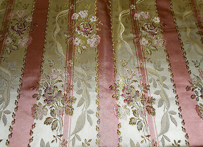 Vintage French Floral Roses Stripe Satin Lisere Brocade Fabric ~ Rose Pink Olive