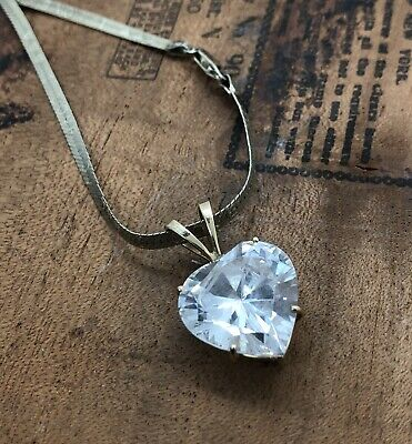 Vintage Heart Crystal Pendant Necklace 925 Sterling Silver Chain Gold Tone