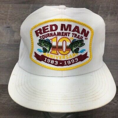 2d767a5478039 Vintage Red Man Chewing Tobacco 10th Anniversary Fishing Tournament Trail  Hat B