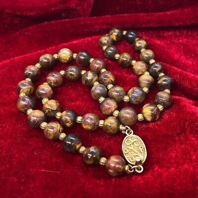 """Vintage Sterling Silver Chinese Necklace Tigers Eye Bead Gold Tone 16"""""""