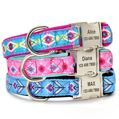 Custom Nylon Dog Collar Personalized ID Name Collar for Small Large Dogs Pink