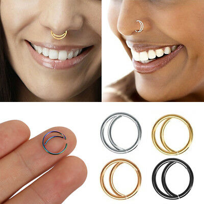 Septum Piercing Small Nostril Hoop Moon Nose Ring Cartilage Tragus Chic Earrings