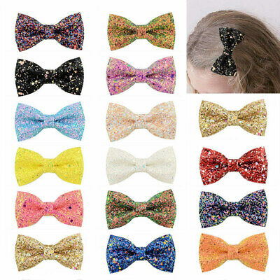 Cute Bowknot Dots Girls Baby Kids Hairbows Glitter Bow Hair Pin Barrettes Clips