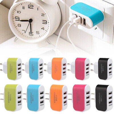 EU/US Wall 2 Pin Plug Adapter Charger Power 3 USB Charging Ports for Cell Phones