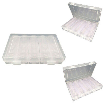 100Pcs 27mm 30mm Coin Cases Capsules Holder Clear Plastic Round Storage Box  AU