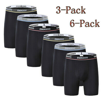 3/6 Pack Mens Bamboo Long Boxer Underwear Soft Elastic Short U-convex Pants