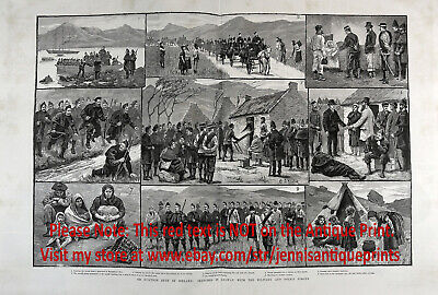 Ireland Galway Land War Evictions, Huge 2x-Folio 1880s Antique Print & Article