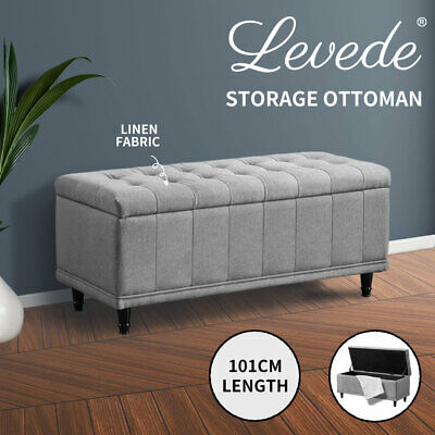 Levede Blanket Storage Ottoman Fabric Padded Rest Chest Toy Foot Stool Bench Bed