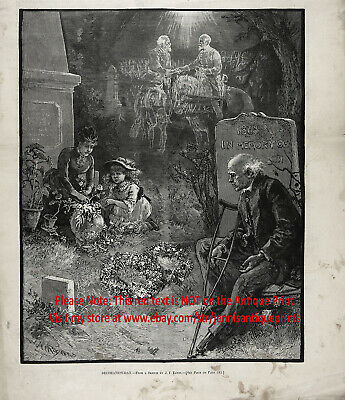 Memorial Day Civil War Veteran Dreams at Cemetery, Large 1880s Antique Print