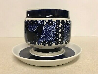 Arabia Finland, large blue bird cup and saucer