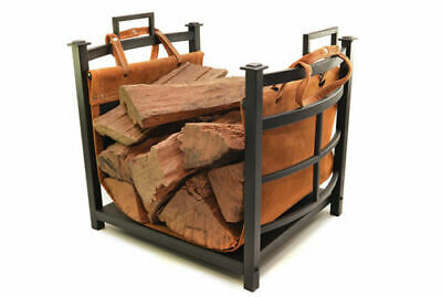 Decofire Design Fireplace Fire Place Firewood Log Holder Steel with Leather Tote
