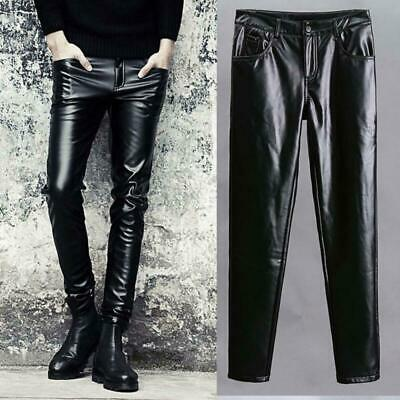 Mens Stylish Faux Leather Slim Fit Skinny Tight Long Trousers Casual Punk Pants
