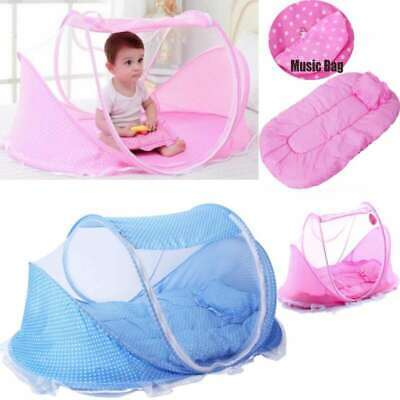 Pink Baby Kids Infant Portable Folding Travel Bed Crib Canopy Mosquito Net Tent