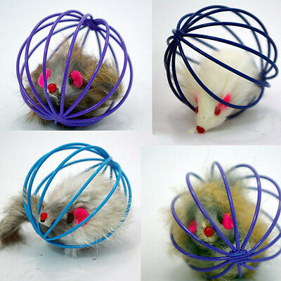 Funny Gift Play Playing Toys False Mouse in Rat Cage Ball For Pet Cat Kitten bn