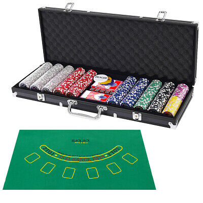 Poker Dice Chip Set 500 Chips Texas Hold'em Cards with Black Aluminum Case New
