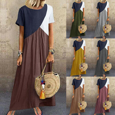 UK Boho Women Short Sleeve Ladies Summer Long Maxi Kaftan Dress Plus Size 6 - 24