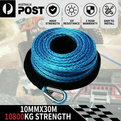 Winch Rope 10MM x 30M  hook Synthetic Car Tow Recovery Cable Protective Sleeves