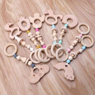 Baby Sensory Play Gym Toys Animal Wooden Beads Teether Teething Montessori Toy