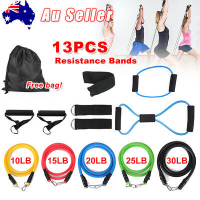 13pcs Latex Resistance Bands Yoga Home Gym Exercise Fitness Workout Heavy Handle