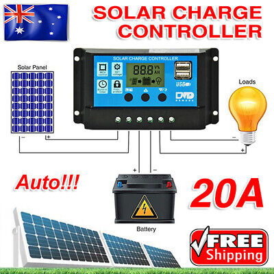 20A LCD Solar Panel Regulator Charge Controller 12V/24V Auto Focus Tracking AU