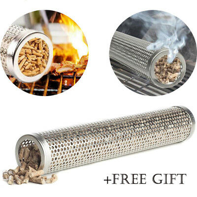 12'' Smoker Tube BBQ Wood Pellet Smoke Box Charcoal Gas Grill Grilling Meat UK