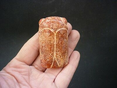 Chinese jade, ancient jade, hand-carved, hongshan culture cicada pendant F9*