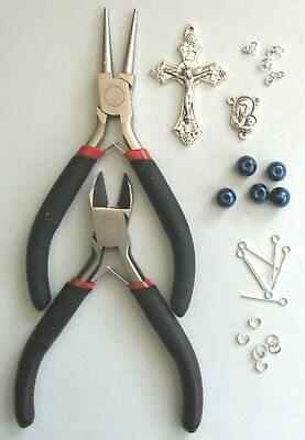 Rosary Making Starter Kit With Instructions (Blue Glass Pearls)