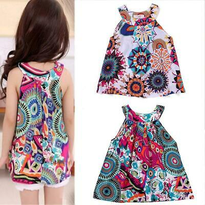 Cute Baby Little Girls Printed Floral Sleeveless Comfort O Neck Dress WT88 02