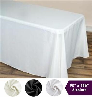 """90"""" x 156"""" Polyester TABLECLOTH with Rounded Corners Wedding Party Table Linens"""