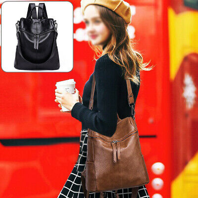 Women Soft Leather Shoulder Bags Ladies Backpack Handbag Messenger Tote