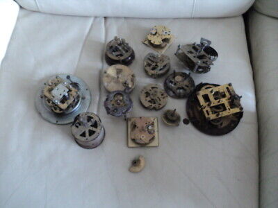 Job lot of vintage/ Antique clock movements for parts spares