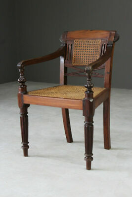 Anglo Indian Padouk Bergere Cane Armchair