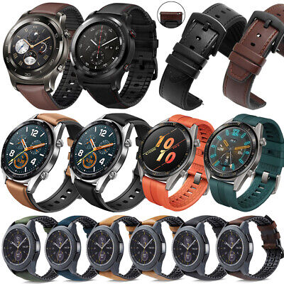 Genuine Leather Silicone Band Strap For 20mm/22mm Huawei Watch GT / Watch 2 Pro