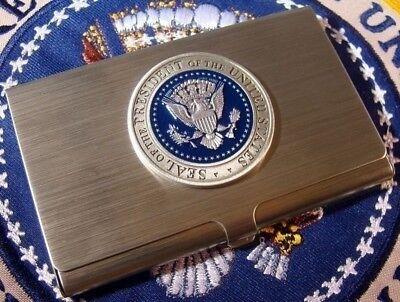 Very Nice Silver Pewter Presidential Seal Business Card Case - Card Holder