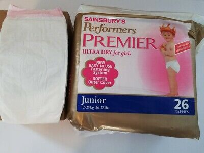 Vintage plastic diapers X 1 Sainsbury's  - Size JUNIOR Abdl (no pampers) pink