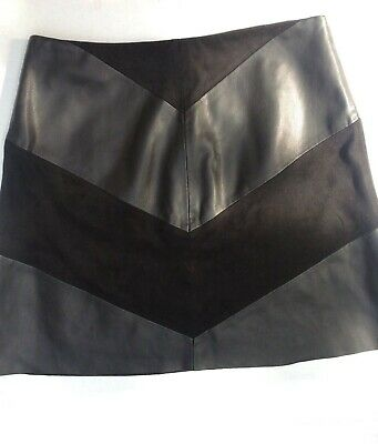 df206eafe ZARA GENUINE REAL Suede Leather Black Mini Skirt With Silver Zip L ...