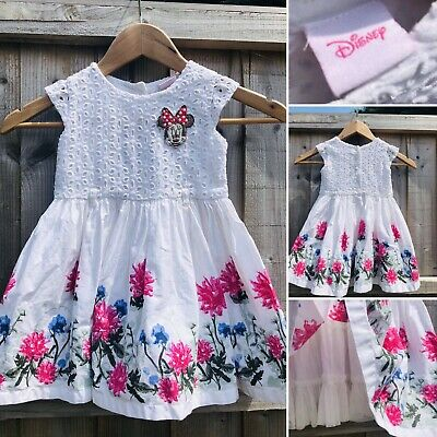 Disney Beautiful Broderie Floral Dress With Full Skirt Petticoat Size 9-12 Month