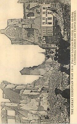 Cp Great European War 1914 Fire Of Louvain Cathedral Church And Trippes Street